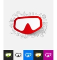 mask paper sticker with hand drawn elements vector image