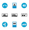 traffic signal icons set flat style vector image