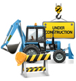 Under Construction Concept with Tractor vector image
