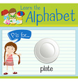 Flashcard letter P is for plate vector image