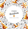 Merry Christmas and New Year gold frame decoration vector image