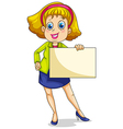 A fat businesswoman holding an empty signage vector image vector image