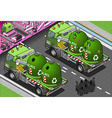 Isometric Glass Garbage Truck with Container in vector image