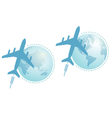 airplane and globe set vector image vector image