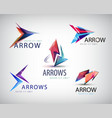 set of 3d colorful arrow logos icons vector image