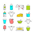 dairy icons colored set vector image