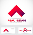 Red real estate house logo icon element vector image