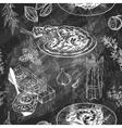 Seamless Menu pattern with Italian meal Blackboard vector image