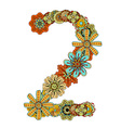 Hand Drawn Floral Number 2 vector image