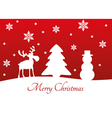 Christmas Tree Reindeer Snowman vector image