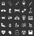 Hospital icons on black background vector image vector image