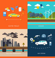 Power plant Electric cars and petrol car vector image