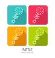 line art baby rattle icon set in four color vector image