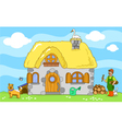 Ancient farm with farmer and animals vector image