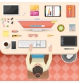 Workplace Top View Design vector image
