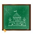 Castle drawing on blackboard art vector image