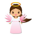cute angel kawaii style paper figure sticker vector image