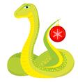 cute green snake with Christmas ball vector image