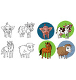 farm animals in circle vector image