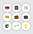 flat icon finance set of payment billfold vector image