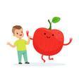 happy boy having fun with fresh smiling apple vector image