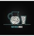 milk glass bottle line design background vector image