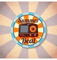 Retro summer beat radio badge vector image