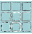 Set of 9 decorative square border frames vector image