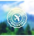 Summer vacation retro label badge on vector image