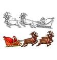 Santa reindeer sleigh gift bag sack sketch vector image