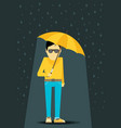 flat man with umbrella standing under the rain vector image