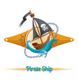 pirate ship label vector image