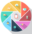 Circle with flat icons vector image