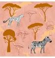 Cheetah zebra and savanna trees vector image