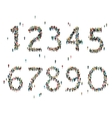 Numbers formed out of people Top view vector image