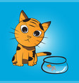 cat wants to eat fish vector image