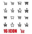 grey shopping cart icon set vector image