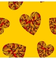 Seamless pattern with hearts on yellow background vector image