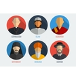 World religions monk people icons Flat design vector image