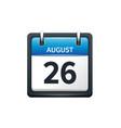 August 26 Calendar icon flat vector image