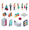 trying shop isometric people icon set vector image