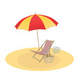 on a summer theme umbrella and chaise longue vector image