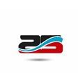 25 anniversary wave logo vector image