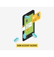 Hacker activity mobile phone and viruses bank vector image