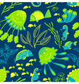 seamless pattern with marine underwater life vector image vector image
