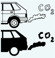 Close up of a car fumes emissions in the traffic vector image