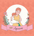 cute horoscope zodiac girl aquarius vector image