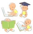 Cute little baby learning vector image
