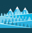 mountain landscape with christmas trees snowy vector image