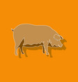 paper sticker on stylish background pig vector image